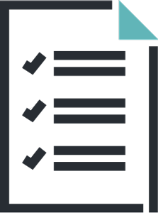 icon of a paper with writing and checkmarks