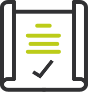 icon of paper with text and checkmark